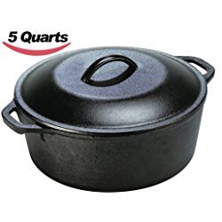Utopia Kitchen Pre Seasoned Cast Iron Dutch Oven with Dual Handle and Cover Casserole Dish 5 Quart