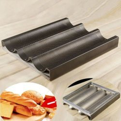 Farmunion Black Non Stick Baguette Mold New French Bread Pan Bake Tray 3 Loaf Bakery Pan